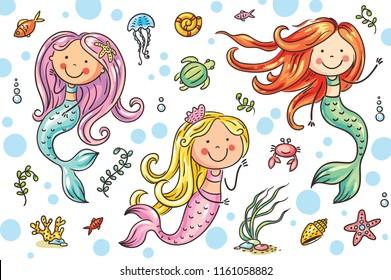 Cartoon mermaid and sea life set, vector illustration