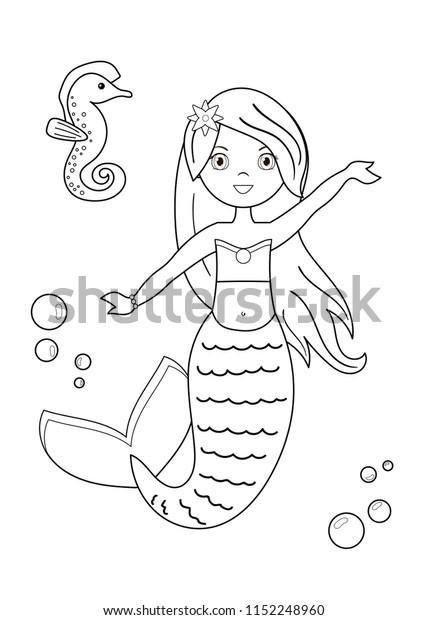 Cartoon Mermaid Seahorse Coloring Page Children Stock Vector Royalty Free 1152248960