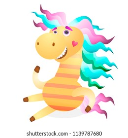 Cartoon Merry pegasus horse, pony for decorating your Web site design, postcards, articles, posters, illustrations in a book, a magazine.