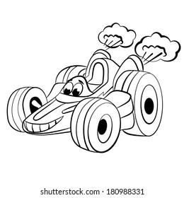 Cartoon of merry racing car. Coloring book.