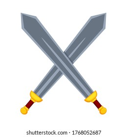 Cartoon metal crossed swords. Medieval festival props. Fairy tale theme vector illustration for icon, stamp, label, certificate, gift card, invitation, coupon or sale banner decoration