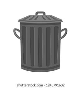 Cartoon metal garbage bin. Retro metal trash bin. Waste disposal themed vector illustration for icon, logo, stamp, label, emblem, certificate, leaflet, brochure or banner decoration