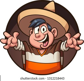 Cartoon Mexican boy wearing a poncho and sombrero clip art. Vector illustration with simple gradients. All in a single layer.