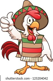 Cartoon mexican chicken. Vector clip art illustration with simple gradients. All in a single layer.