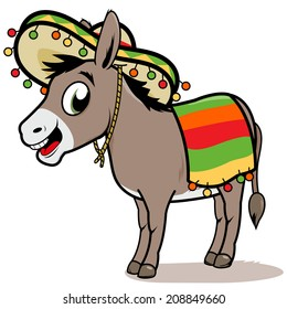 Cartoon Mexican donkey with a sombrero hat. Vector illustration.