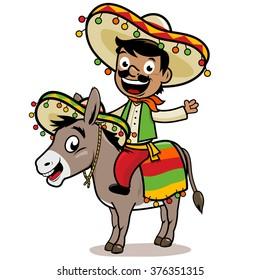Cartoon Mexican mariachi man riding a donkey. Vector illustration