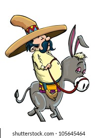Cartoon Mexican wearing a sombrero riding a donkey. Isolated
