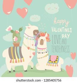 Cartoon mexican white alpaca llamas couple with hearts balloons. Happy Valentines day