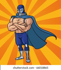 Cartoon mexican wrestler standing with crossed arms. Vector illustration with simple gradients. Character and background on separate layers for easy editing.