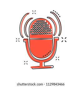 Cartoon microphone icon in comic style. Mic illustration pictogram. Mike sign splash business concept.