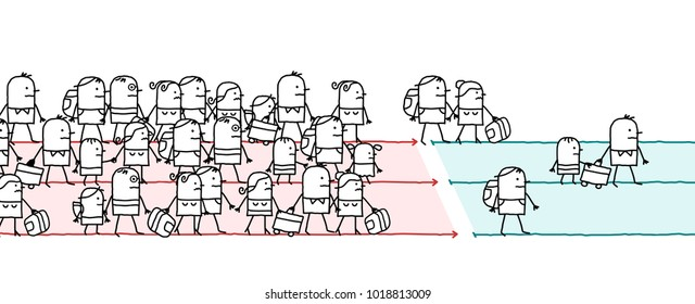 Cartoon Migrating People