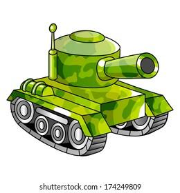 Cartoon military tank. Vector illustration.