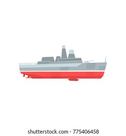 Cartoon military tanker. Navy warship with radars and cannon. Colored boat icon. Flat vector design Graphic element for website, mobile game, infographic