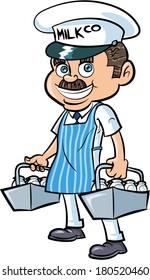 Cartoon Milkman delivering milk. Isolated