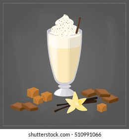 Cartoon milkshake in glass with chocolate, vanilla, caramel toffee isolated on chalkboard background. Perfect for menu and posters.