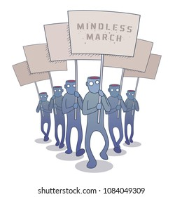 Cartoon mindless march. Crowd of brainless zombies holds a placards. Hypnotized people with a foolish behavior and white eyes. Stupid protest, provocative flash mob or bad riot. Political caricature.