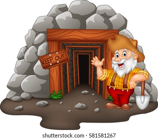 Cartoon mine entrance with gold miner