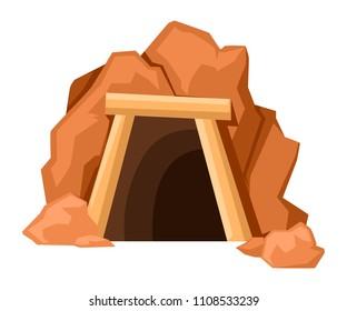 Cartoon mine entrance. Retro tunnel. Old mine in desert. Flat vector illustration isolated on white background.