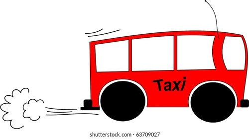 Cartoon of a mini bus taxi racing to a destination