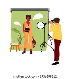 Cartoon model at photo studio. Vector professional photographer occupation, man taking pictures with professional camera and light equipment, woman posing, photoshoot simple illustration