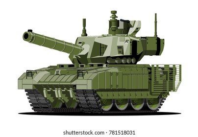 Cartoon modern armored tank. Available EPS-10 vector format separated by groups and layers with transparency effects for one-click repaint