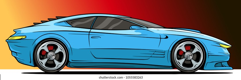 Cartoon modern cool blue sport car with silver metal wheel disc on red background. Vector icon.