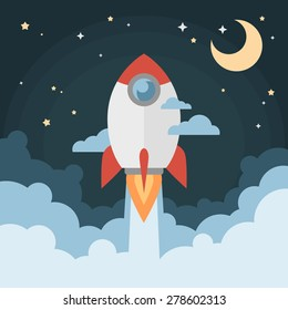 Cartoon modern flat rocket launch flying in space with moon and stars on background for prints, posters, flyers, startups