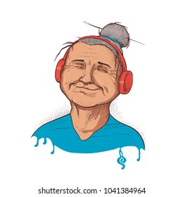 Cartoon Modern Grand Mother Listening Music Vector Illustration in Ink style. old woman listening music. Avatar. illustration can be used as a print on T-shirts