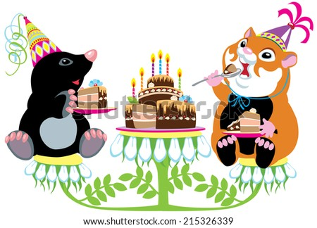 Cartoon Mole Hamster Eating Birthday Cake Stock Vector Royalty Free