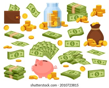 Cartoon money bag and piles. Piggy bank, banknote packs, wallet with dollar bills, gold stacks and sack with coins. Cash savings vector set. Illustration bag with cash, safe golden in heap