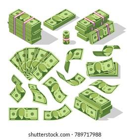 Cartoon money bills. Green dollar banknotes cash vector icons. Cash money paper, financial pile banknotes illustration
