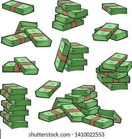 Cartoon money. Piles of cash. Stacks of dollars. Bundles of money isolated on white background. Vector illustration EPS 8. Line art