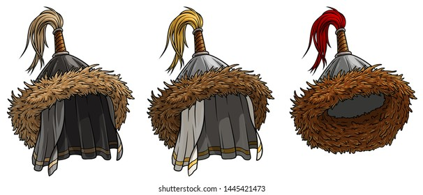 Cartoon mongolian or asian warrior metal conical helmet with fur. Isolated on white background. Vector icon set.