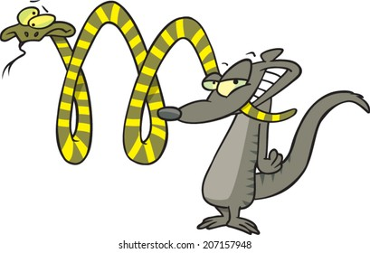 cartoon mongoose making the letter M with a snake