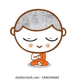 cartoon Monk and novice Buddhism, isolated on white background, illustration.
