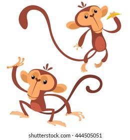 Cartoon monkey animals flat style. Vector dancing monkey set. Jungle chimpanzee characters isolated on white. Zoo monkey mascot