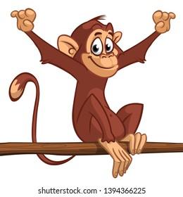Cartoon monkey chimpanzee sitting on the tree branch. Vector illustration of happy monkey character