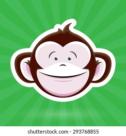 Cartoon Monkey Face with Happy Childlike Expression on Green Background - Vector Design