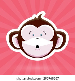 Cartoon Monkey Face with Surprised Expression on Pink Background - Vector Design