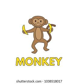 Cartoon monkey flashcard. Vector illustration for children education