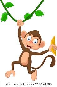 Cartoon monkey hanging
