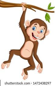 Cartoon monkey hanging in tree branch