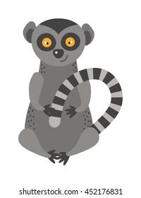 Cartoon monkey lemur vector illustration