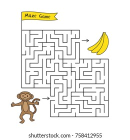 Cartoon monkey maze game. Funny game for children education