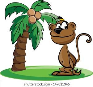 Cartoon monkey and a palm - vector