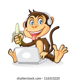 Cartoon monkey was playing laptop with headphones on his head while holding a banana that has been peeled
