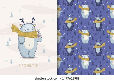 Cartoon monster character with scarf and gift. Kids Winter seamless background pattern and card print template. Hand drawn cloth surface design vector illustration.