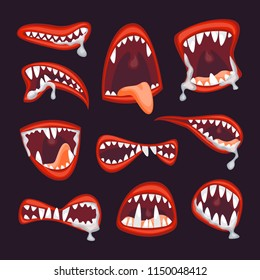 cartoon monster and devil mouth set scary halloween concept element flat design style vector illustration