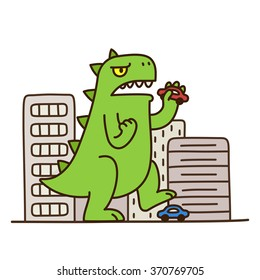 Cartoon monster dinosaur destroying city. Cute and funny vector illustration.