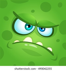 Cartoon monster face. Vector Halloween green mad angry monster